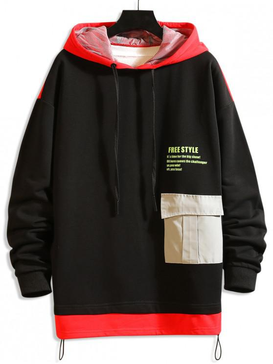 women Freestyle Graphic Color-blocking Drop Shoulder Hoodie - RED M