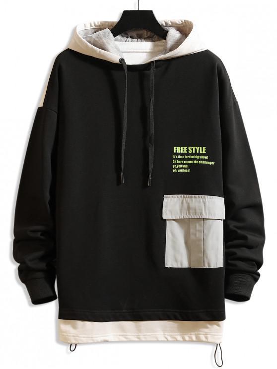online Freestyle Graphic Color-blocking Drop Shoulder Hoodie - APRICOT M