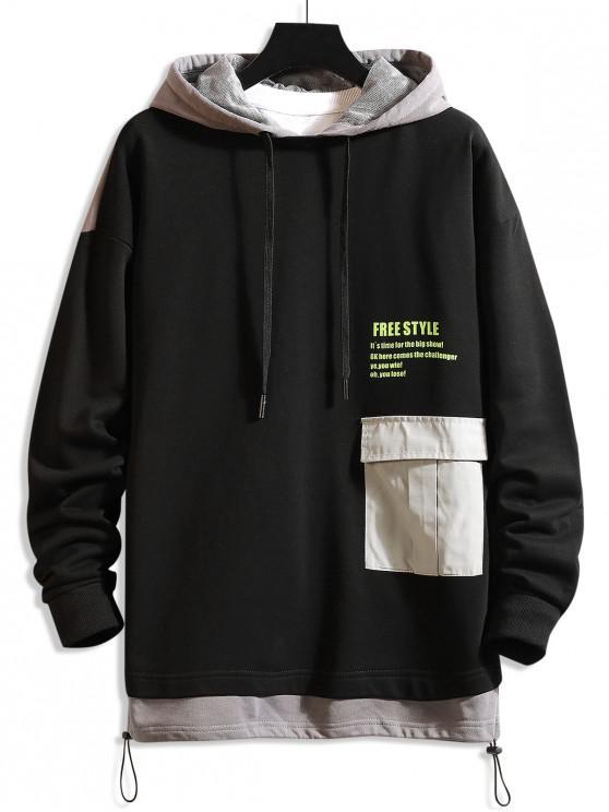 shops Freestyle Graphic Color-blocking Drop Shoulder Hoodie - GRAY L