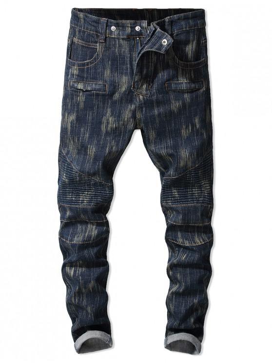outfit Drape Panel Printed Zip Fly Jeans - DENIM DARK BLUE 40