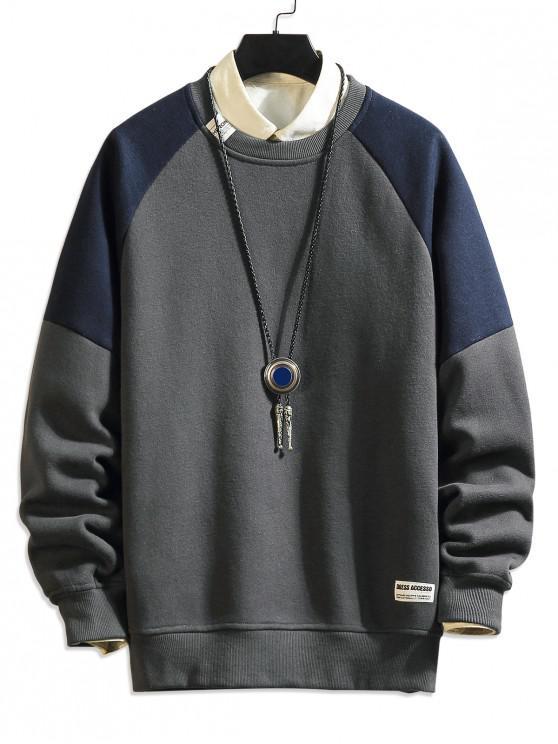 online Contrast Color Ralgan Sleeve Fleece Sweatshirt - GRAY 3XL