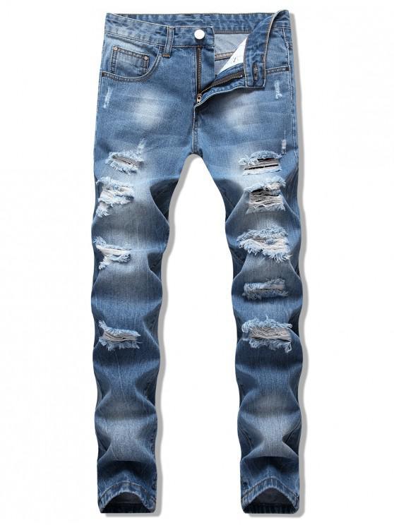 affordable Distressed Destroy Wash Scratch Long Jeans - JEANS BLUE 40
