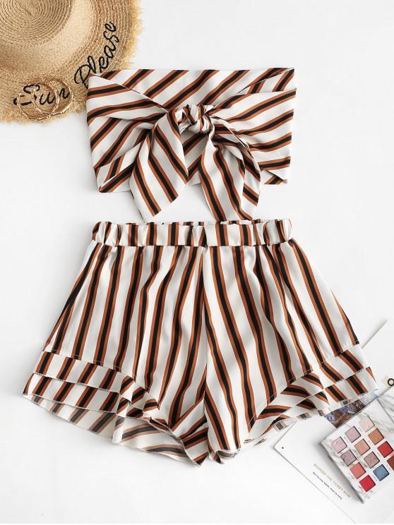 womens ZAFUL Stripes Tie Front Bandeau Top Set - WHITE M