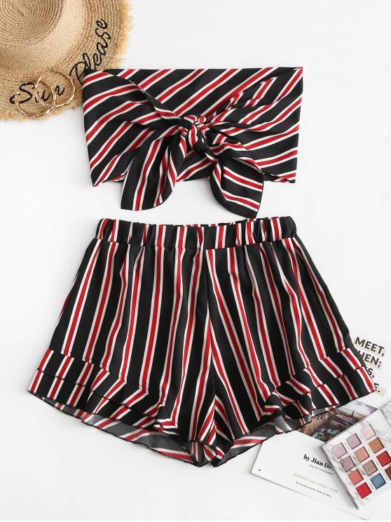 women's ZAFUL Stripes Tie Front Bandeau Top Set - RED L