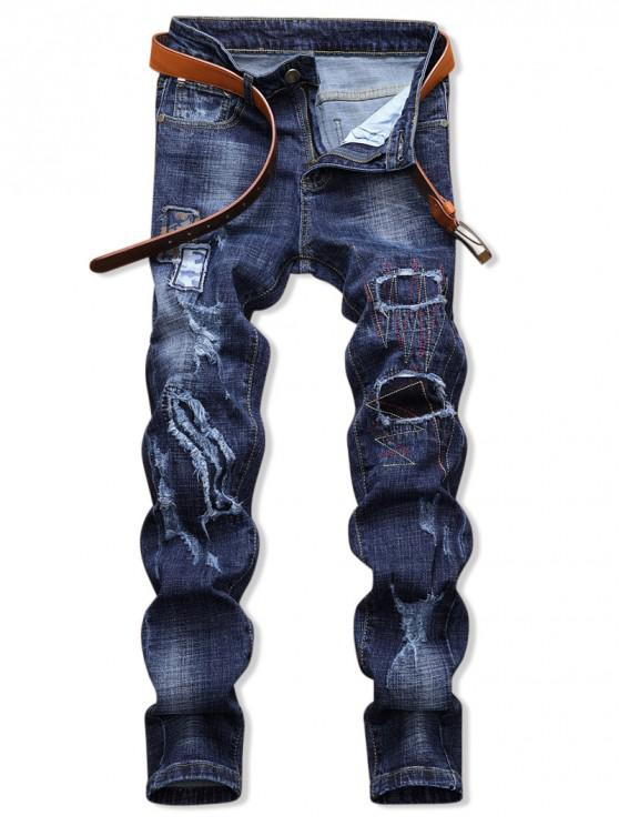 shop Patchworks Ripped Decorated Zip Fly Jeans - DENIM DARK BLUE 36