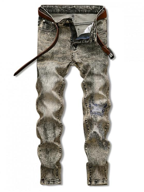 women Vintage Patchworks Design Zip Fly Jeans - SAND 36