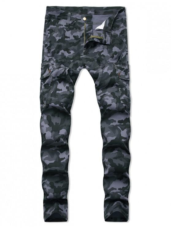 ladies Camo Print Zipper Fly Casual Jeans - ACU CAMOUFLAGE 32
