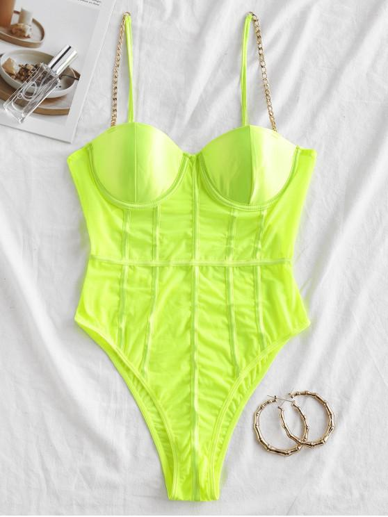 new Cut Out Mesh Panel High Cut Teddy - GREEN YELLOW S