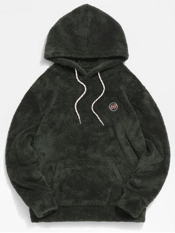 online ZAFUL Figure Pattern Solid Fluffy Hoodie - ARMY GREEN 2XL