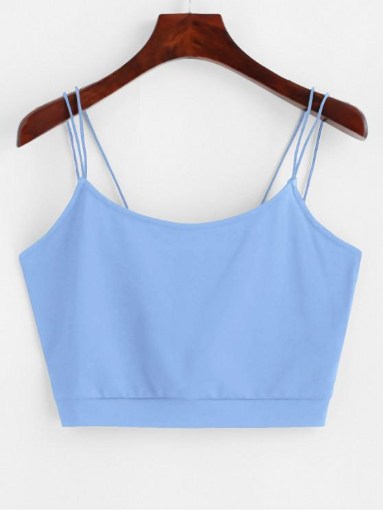 lady ZAFUL Solid Color Crop Strappy Cami Top - BLUE S