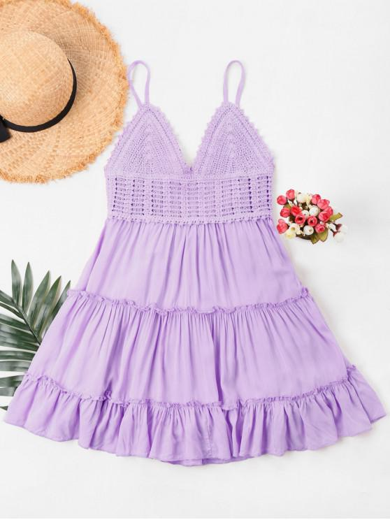 trendy Crochet Panel Cami Flare Dress - MAUVE S