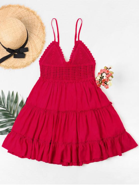 lady Crochet Panel Cami Flare Dress - RED S