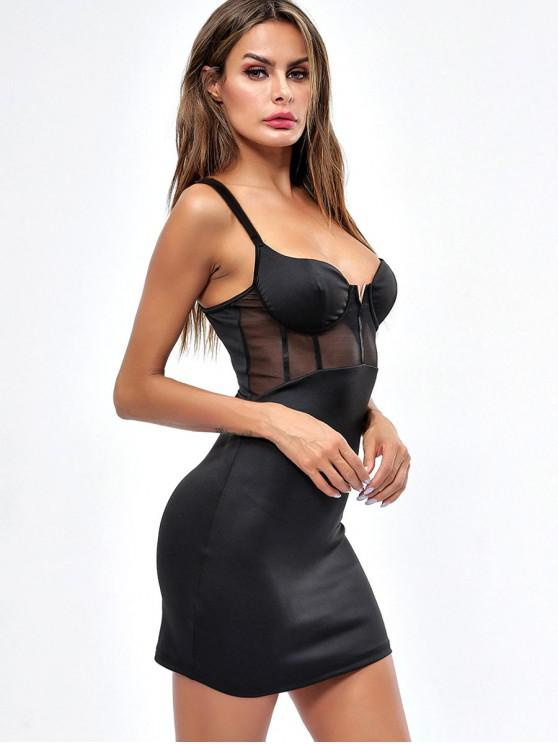 new Mesh Panel V-wire Bodycon Dress - BLACK L