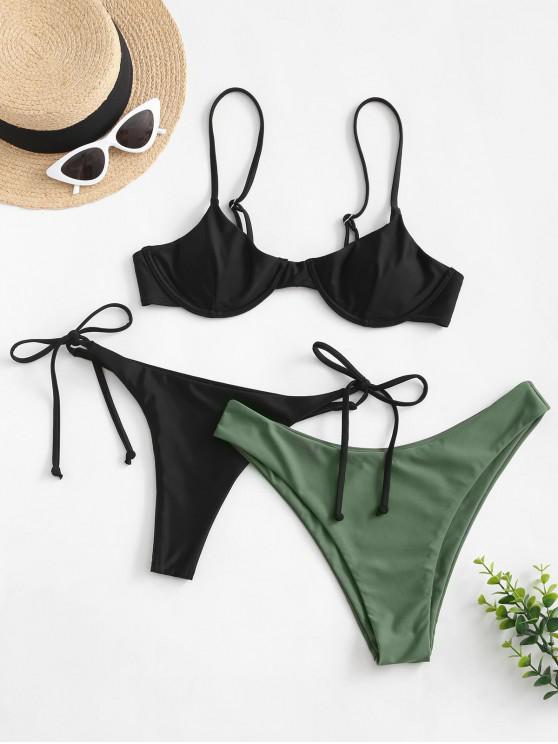 unique ZAFUL Tie Side Underwire Three Piece Swimsuit - BLACK L