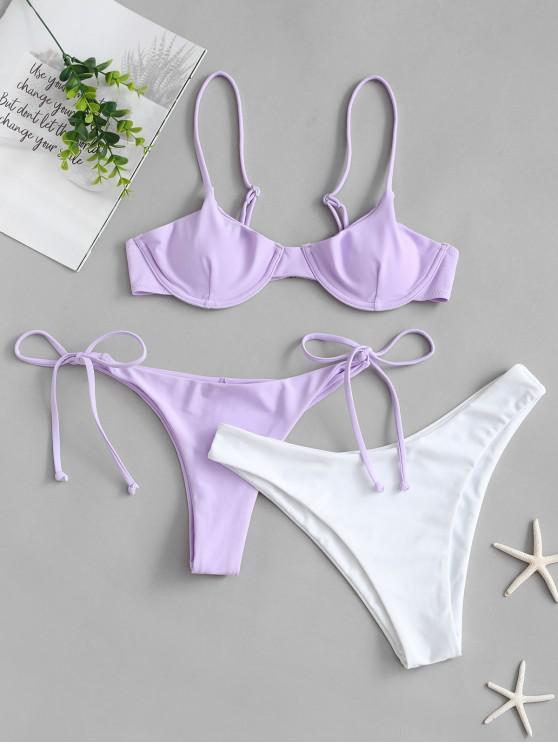 women ZAFUL Tie Side Underwire Three Piece Swimsuit - LAVENDER BLUE L