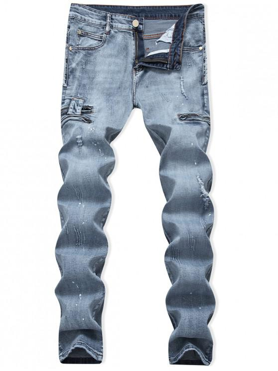 chic Ripped Painting Dots Scratch Zip Fly Jeans - JEANS BLUE 36