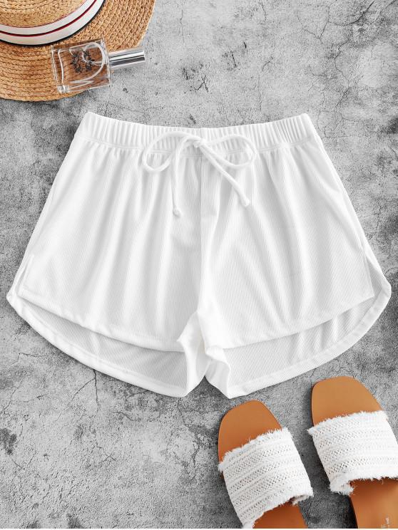 latest ZAFUL Tie Ribbed Shorts - WHITE S