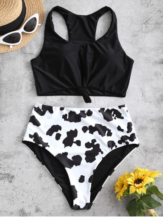 womens ZAFUL Cow Print Knotted Racerback Tankini Set - BLACK S