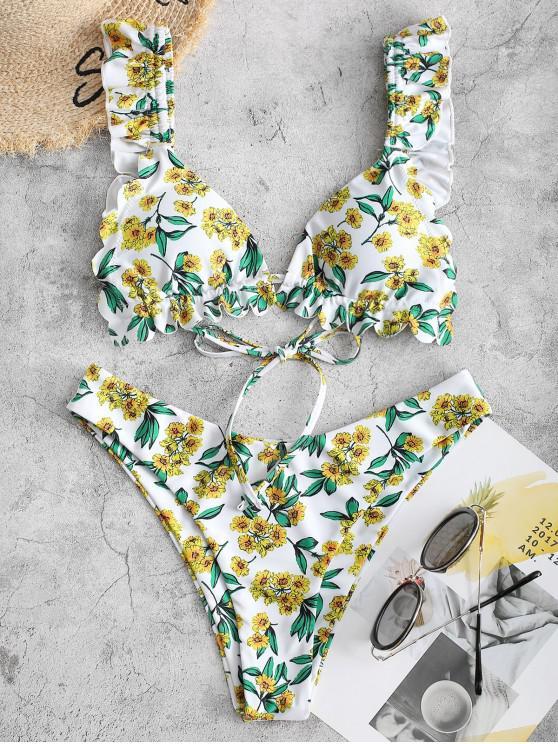 new ZAFUL Floral Print Scalloped Ruffles Bikini Set - YELLOW L