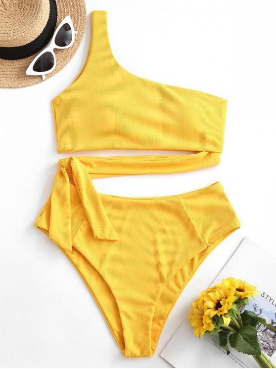 women ZAFUL Knotted One Shoulder Solid Bikini Set - BRIGHT YELLOW L