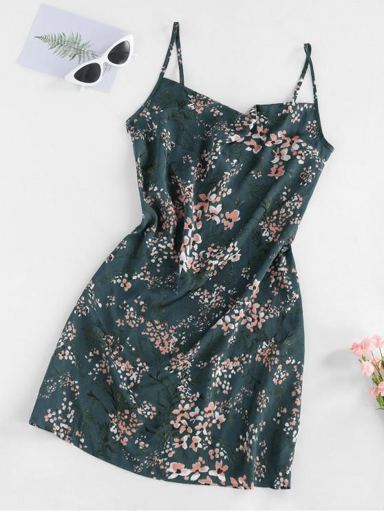 women's ZAFUL Floral Print Cowl Front Cami Dress - DARK TURQUOISE L