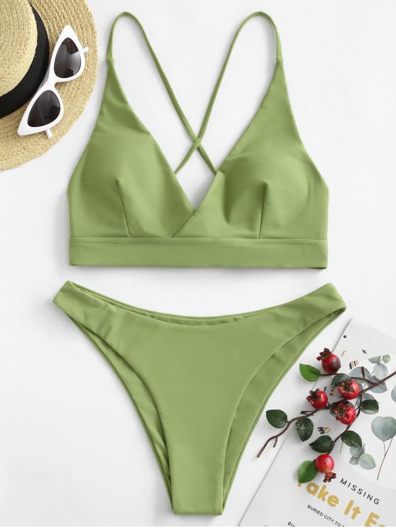 fashion ZAFUL Lace-up Surplice Bikini Swimsuit - GREEN SNAKE L