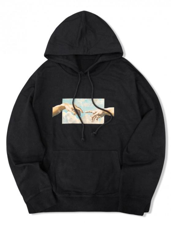 online Helping Hands Graphic Front Pocket Lounge Hoodie - BLACK 2XL