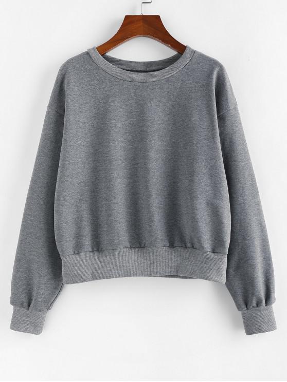 lady ZAFUL Ribbed Trim Drop Shoulder Pullover Sweatshirt - GRAY L