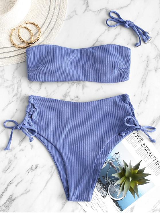 unique ZAUFL Ribbed Lace Up High Waisted Bikini Swimsuit - BLUE L