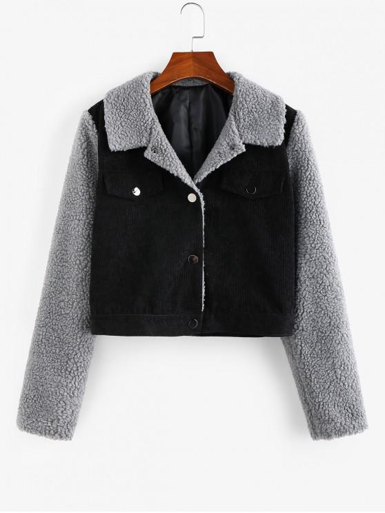 ZAFUL Corduroy Faux Fur Inserire Colorblock Giacca Crop - Nero S