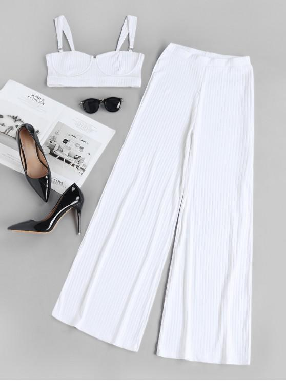 online Two Piece Ribbed Bustier Top And Pants Set - WHITE S