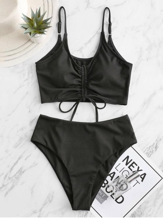 ZAFUL costine Cinched a vita alta Tankini Swimsuit - Nero XL