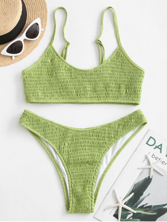 shops ZAFUL Smocked Bralette Bikini Swimsuit - GREEN SNAKE L