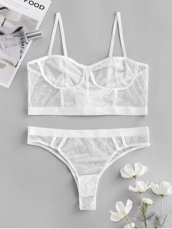 new Dotted Mesh Lingerie Bra Set - WHITE M