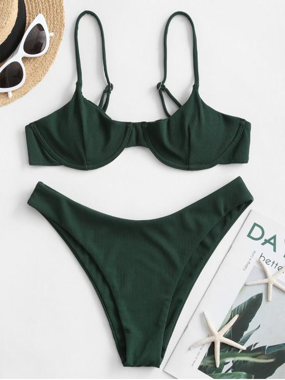fashion ZAFUL Ribbed Underwire Solid Bikini Swimsuit - SEA TURTLE GREEN S