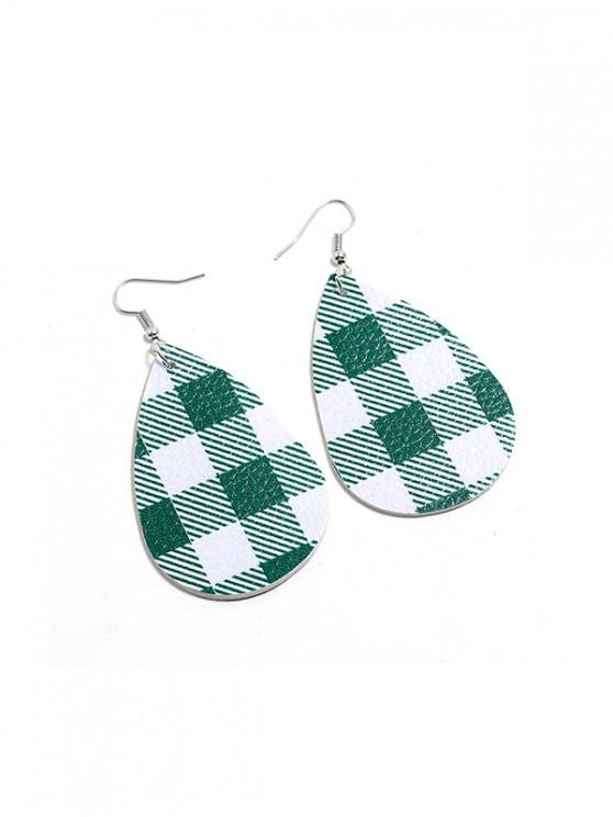 womens Plaid Leather Water Drop Earrings - GREEN