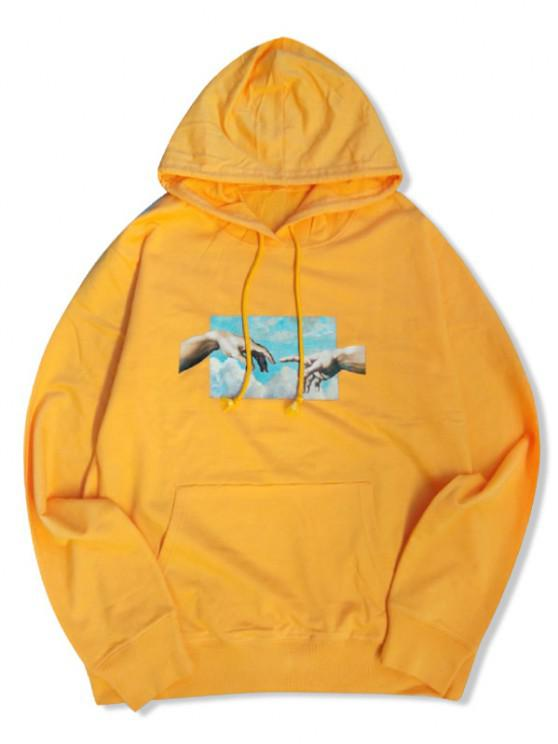 affordable Helping Hands Graphic Front Pocket Lounge Hoodie - YELLOW XS