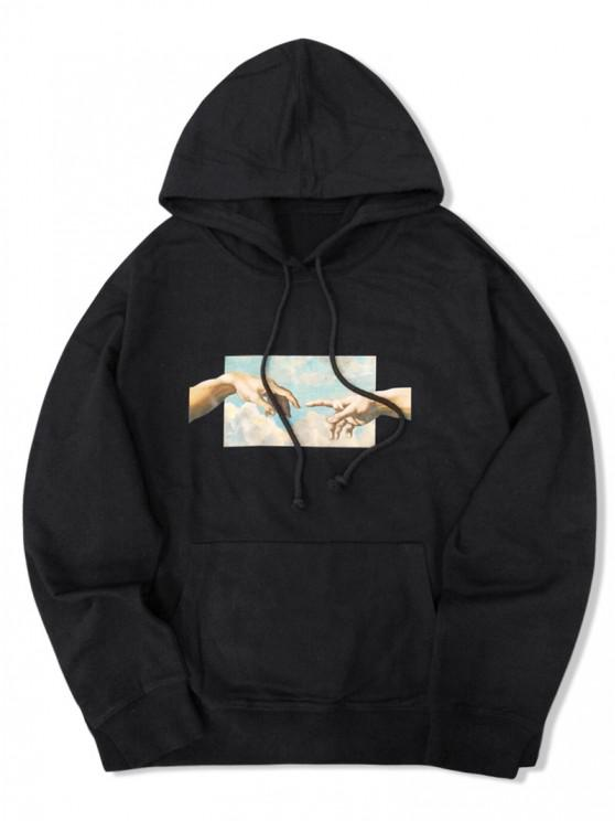 shops Helping Hands Graphic Front Pocket Lounge Hoodie - BLACK L