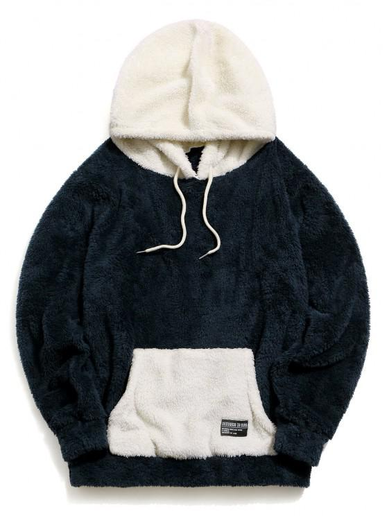 latest ZAFUL Colorblock Kangaroo Pocket Fluffy Hoodie - CADETBLUE S