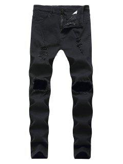 Destroyed Decoration Zip Fly Slim Jeans - Black 34