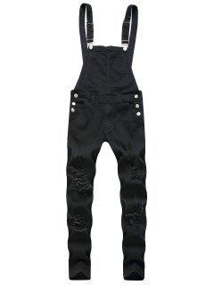 Solid Color Ripped Zipper Denim Overalls - Black L