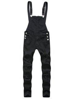 Solid Color Ripped Zipper Denim Overalls - Black 2xl