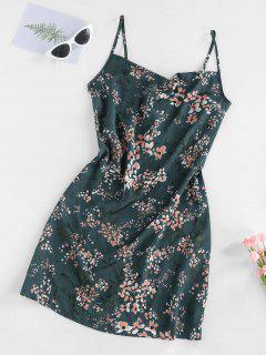 ZAFUL Robe Fleurie Imprimée Avec Bouton à Bretelle - Turquoise Foncée S