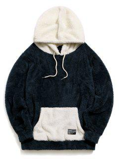 ZAFUL Colorblock Kangaroo Pocket Fluffy Hoodie - Cadetblue S