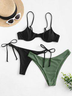 ZAFUL Tie Side Underwire Three Piece Swimsuit - Black S