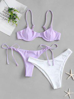 ZAFUL Tie Side Underwire Three Piece Swimsuit - Lavender Blue S