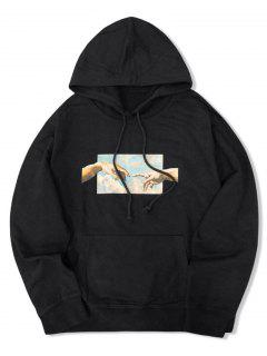 Helping Hands Graphic Front Pocket Lounge Hoodie - Black M