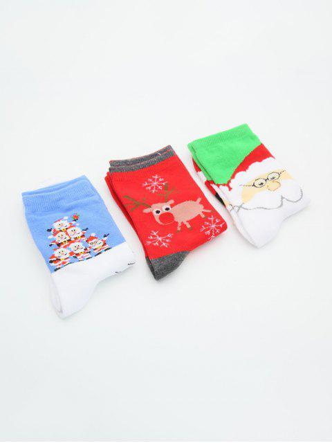 3 пара Олень Дед мороза Рождественский принт Носки Набор - Многоцветный-A  Mobile