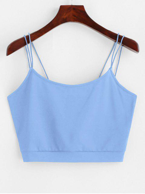 ZAFUL Volltonfarbe Crop Chasuble Top mit Riemchen - Blau L Mobile