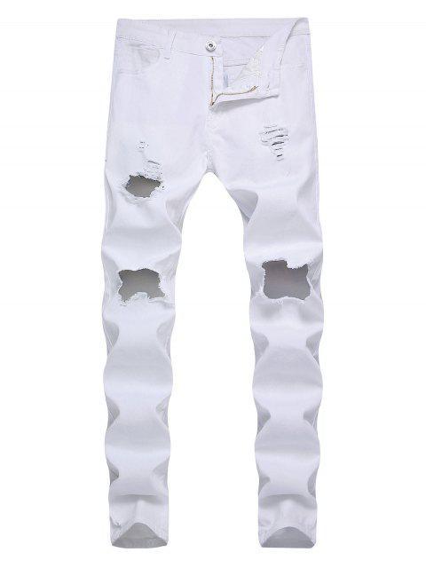 破壞裝飾拉鍊飛超薄牛仔褲 - 白色 32 Mobile